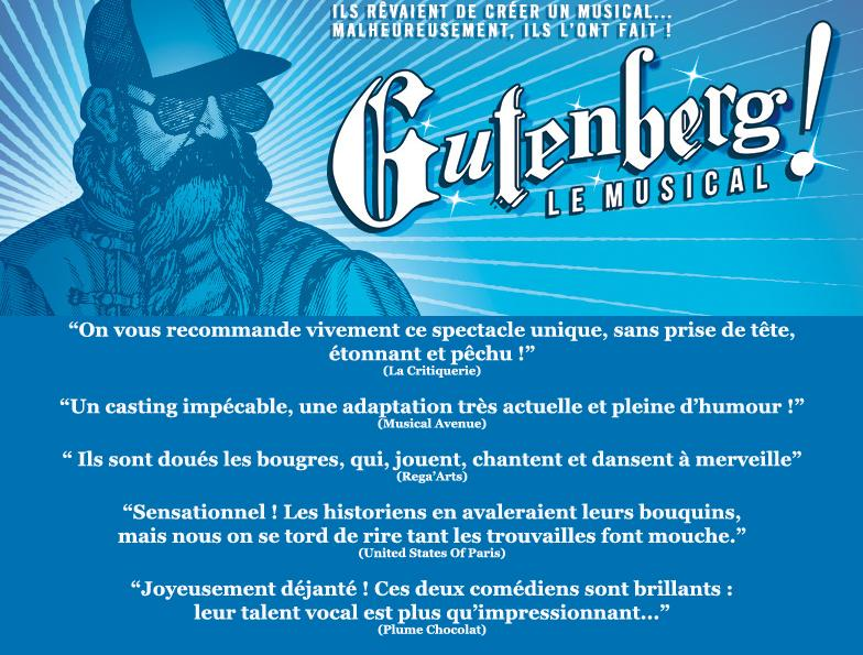 Gutenberg le musical presse et blogs review avec billet critique blog united states of paris Aktéon théâtre festival avignon off 20145