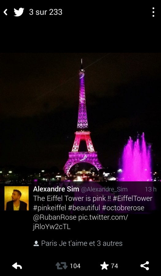 United States of Paris Blog re vue de presse press review Twitter internet Tour Effiel tower pink ribbon ruban rose