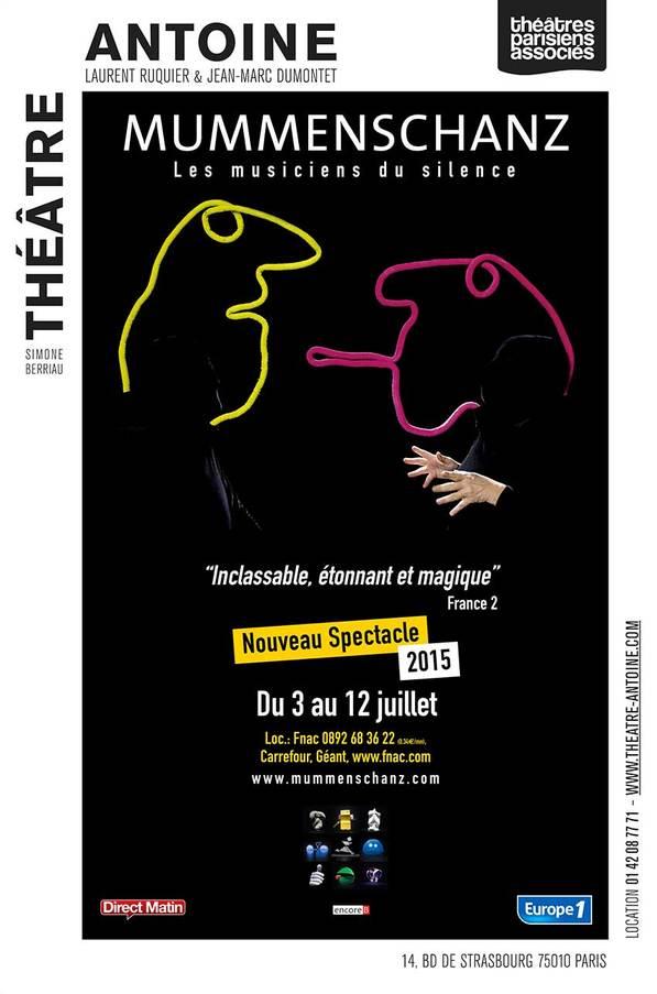 Mummenschanz les musiciens du silence Théâtre Antoine Paris nouveau spectacle 2015 du 3 au 12 juillet affiche