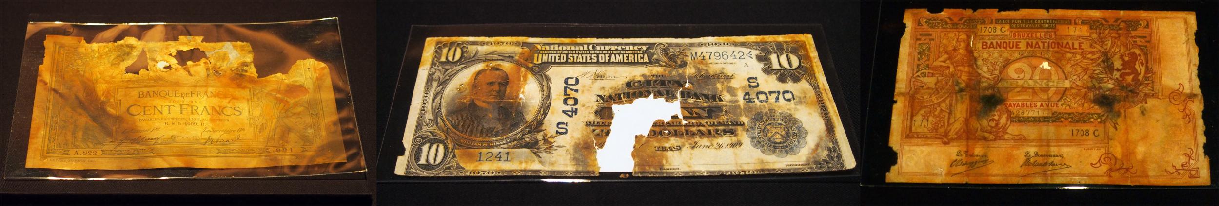 Billets-devises-dollar-franc-belgique-Titanic-RMS-Exposition-Porte-de-Versailles-15-avril-1912-naufrage-film-archive-trésor
