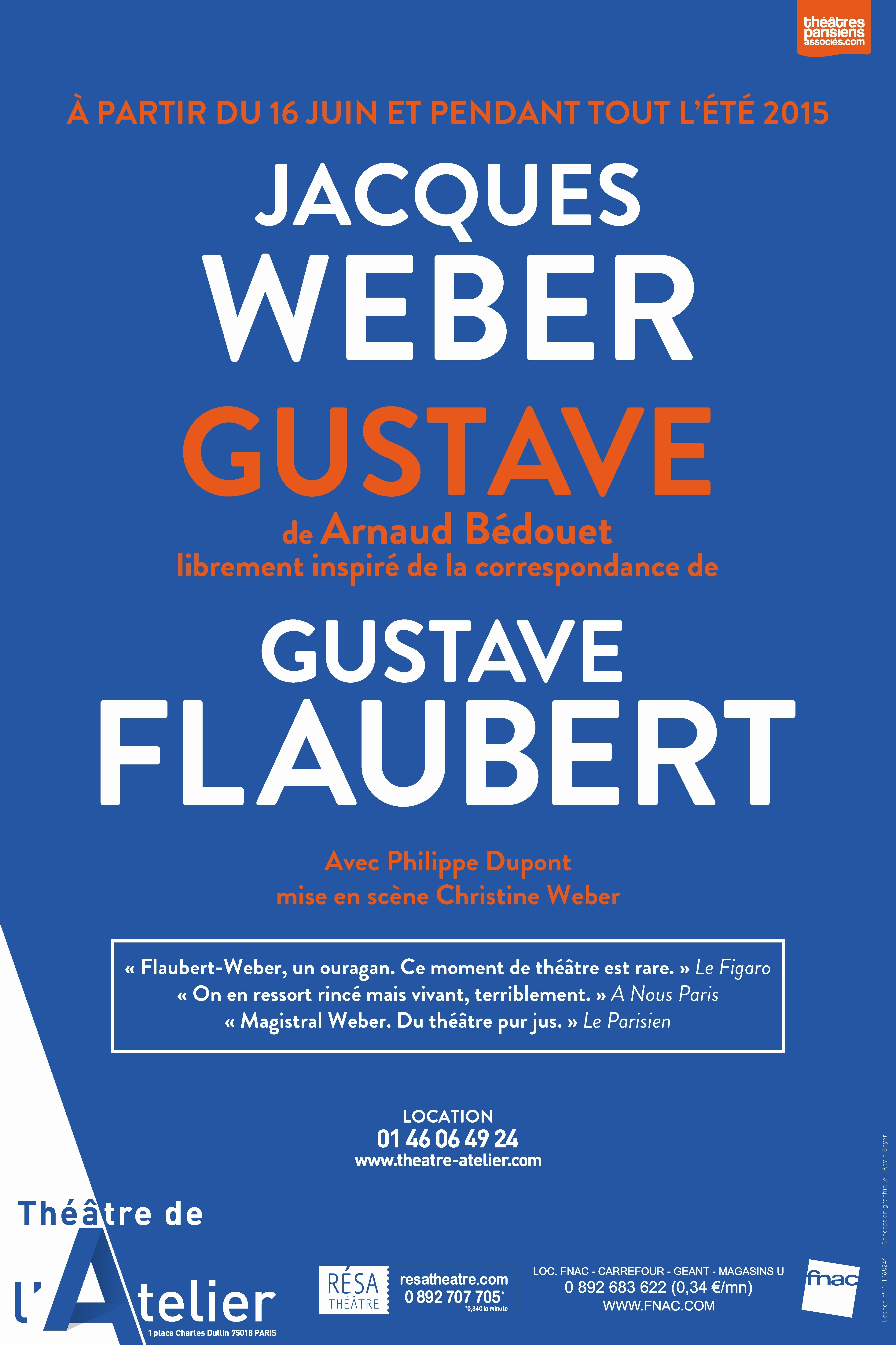 Affiche spectacle GUSTAVE librement inspiré des correspondancesde Flaubert pièce avec Jacques Weber Philippe Dupont mise en scène Christine Weber reprise au théâtre de l atelier paris