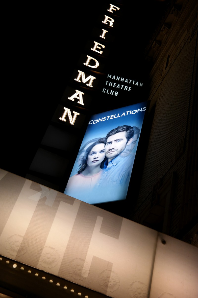 Constellations Jake Gyllehaal Ruth Wilson play broadway Samuel J Friedman Theatre new york city by night times square photo by United States of Paris blog
