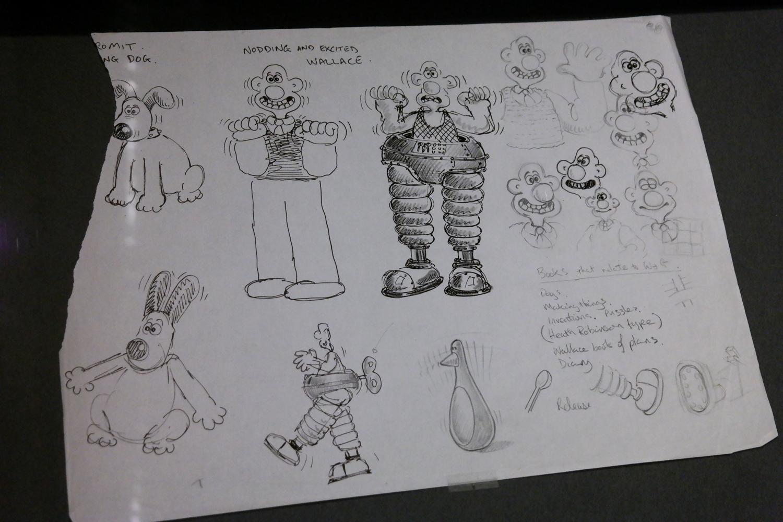 Croquis de Nick Park : Wallace et Gromit, Un mauvais pantalon, 1995