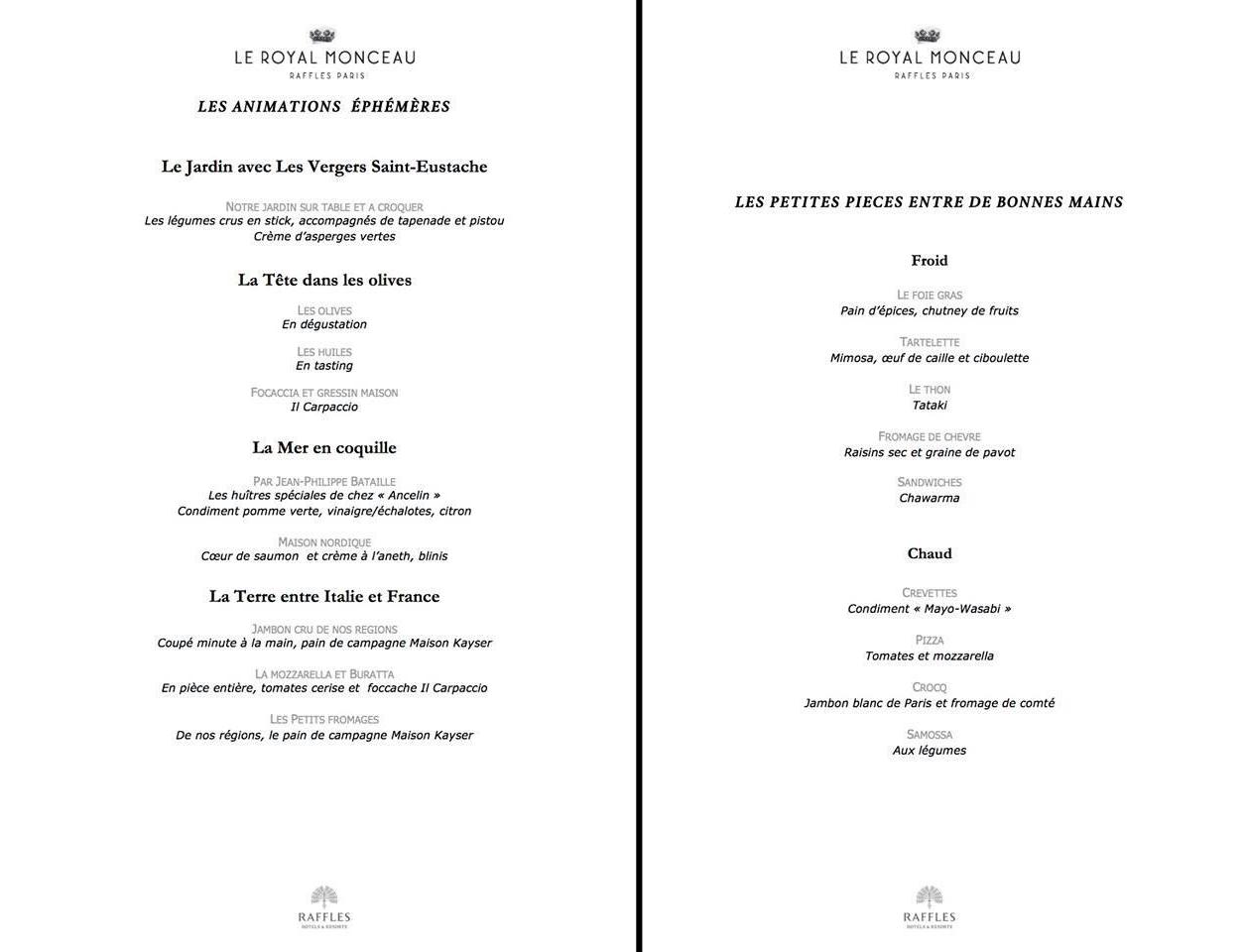 h pital necker chefs toil s royal monceau jeudi 2 avril 2015 diner caritatif v nement menu. Black Bedroom Furniture Sets. Home Design Ideas