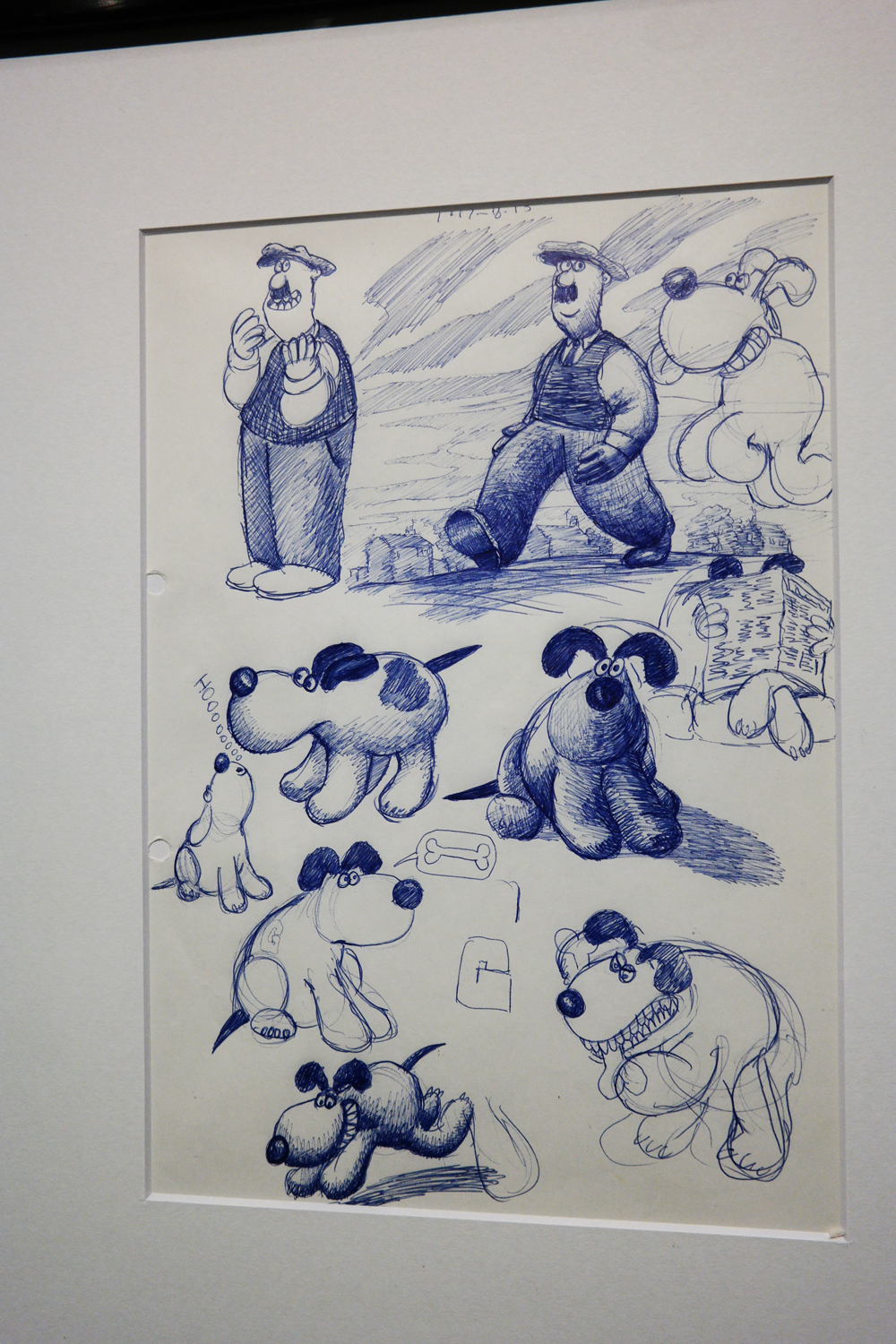 Premiers dessins de recherche early drawings Nick Park Wallace and et Gromit A Grand Day Out 1989 exposition Aardman Studios Musée Art Lusique Paris animation movie film