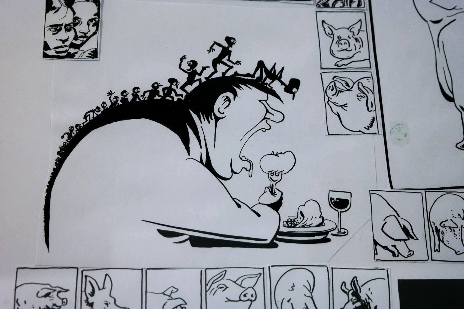 Dessin-original-encre-et-style-feutre-paru-dans-Charlie-Hebdo-Libération-années-2000-Willem-dessinateur-exposition-Les-Cahiers-Dessinés-La-Halle-Saint-Pierre-Paris
