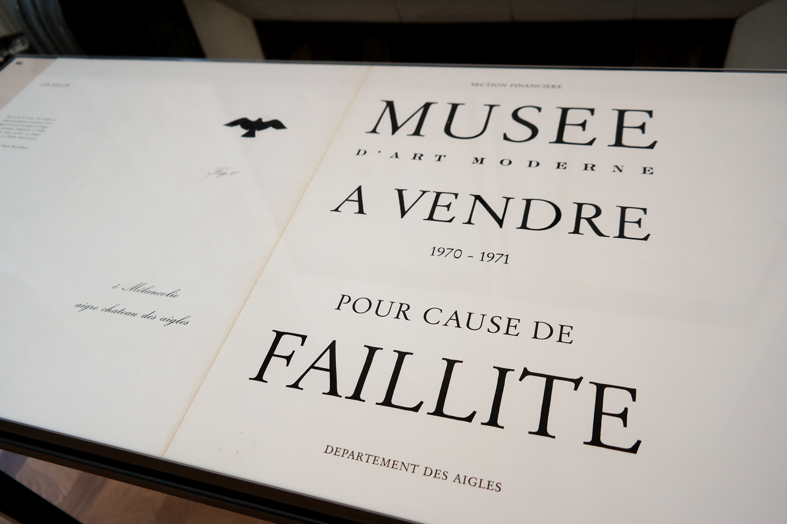 Musee-d-art-moderne-1971-1970-pour-cause-de-faillite-départements-des-aigles-Estate-Marcel-Broodthaers-exposition-Monnaie-de-Paris-MACBA-collection