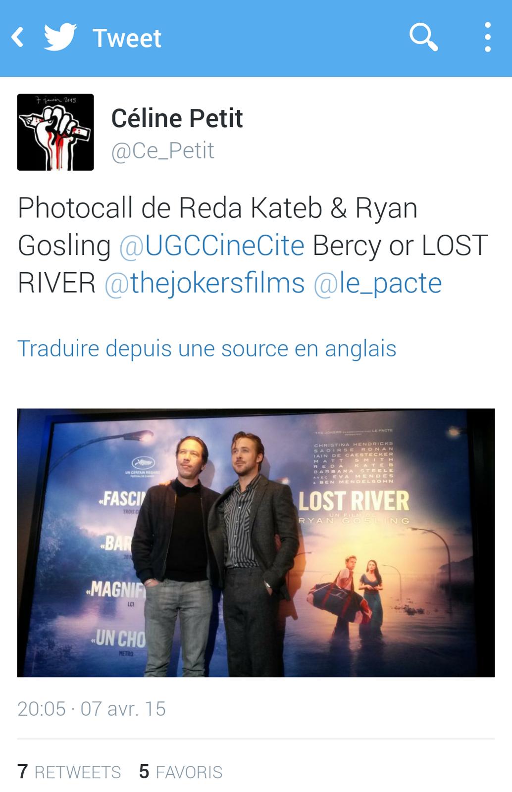 Photocall Ryan Gosling Reda Kateb Lost River premier film UGC Ciné Cité Bercy cinéma photo twitter by Céline Petit