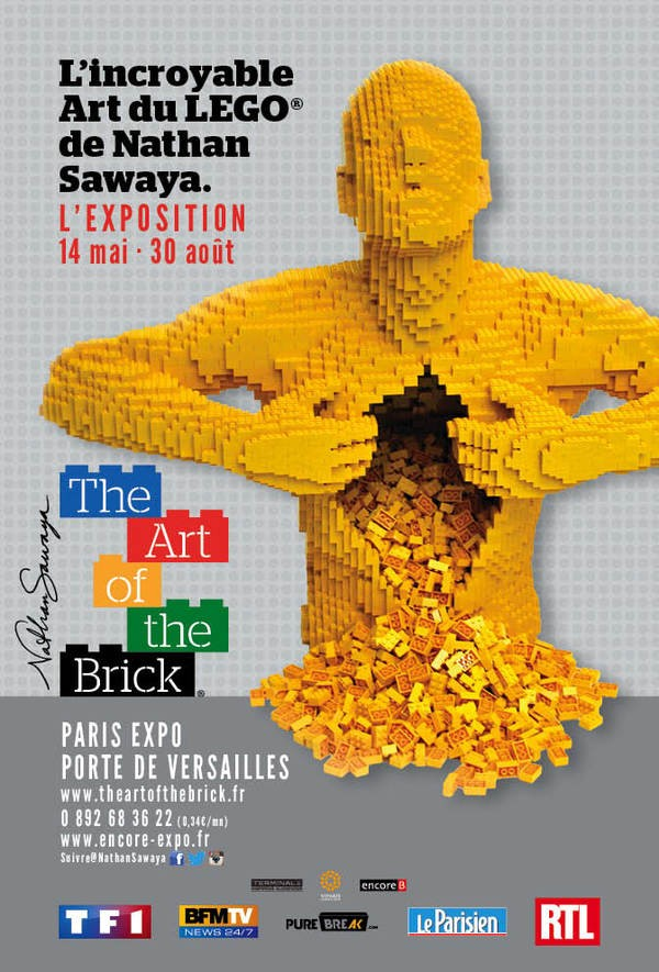 The art of the Brick  Nathan Sawaya Paris expo porte de versailles art création briques lego critique avis affiche