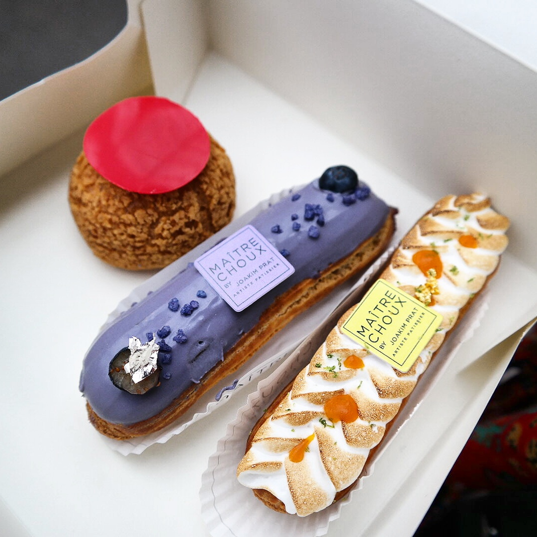 Maitre Choux pastry patisserie London Londres Joakim Prat french spanish rasberry pink chou violette lemon eclairs South Kensington photo by United States of Paris blog