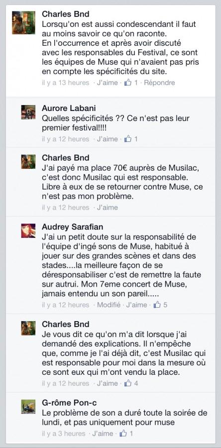 Facebook musilac muse bonus day live problème son concert 13 juillet 2015