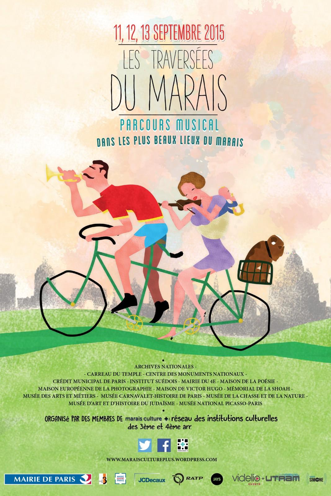 Affiche festival les Traversées du marais parcours musical dans les plus beaux lieux du marais 11 12 13 septembre 2015 organisé par Marais Culture + 3e et 4e arrondissement mairie de Paris