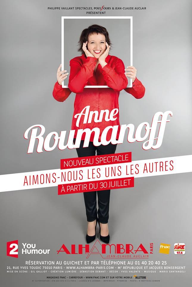 Anne Roumanoff nouveau spectacle Aimons-nous les uns les autres Alhambra Paris humour one woman show affiche