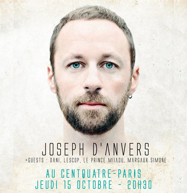 Affiche concert Joseph d Anvers concert au 104 CentQuatre Paris le 15 octobre 2015 avec Lescop Dani Le Prince Miiaou Margaux Simone