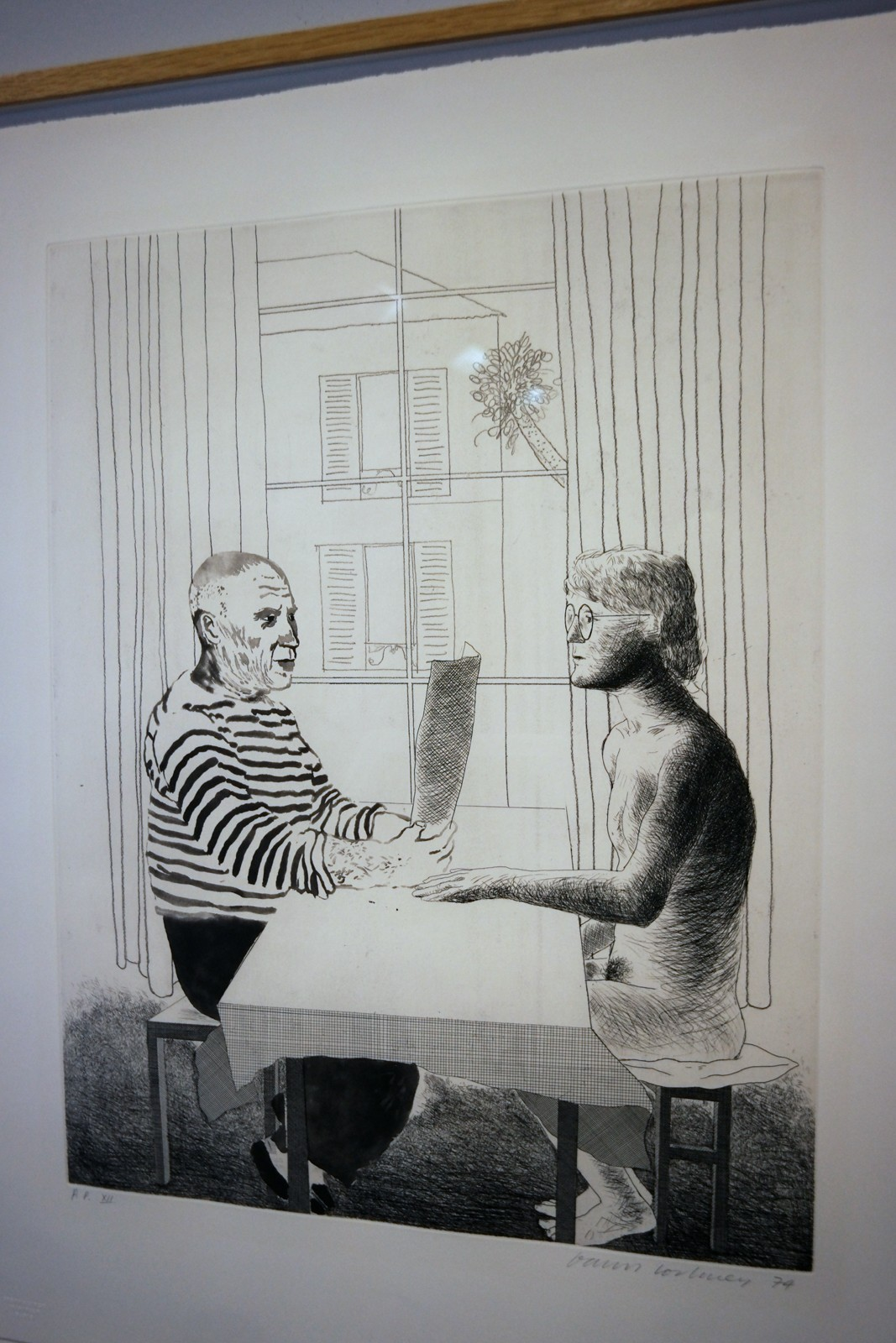 Artist and model, 1973-1974, David Hockney