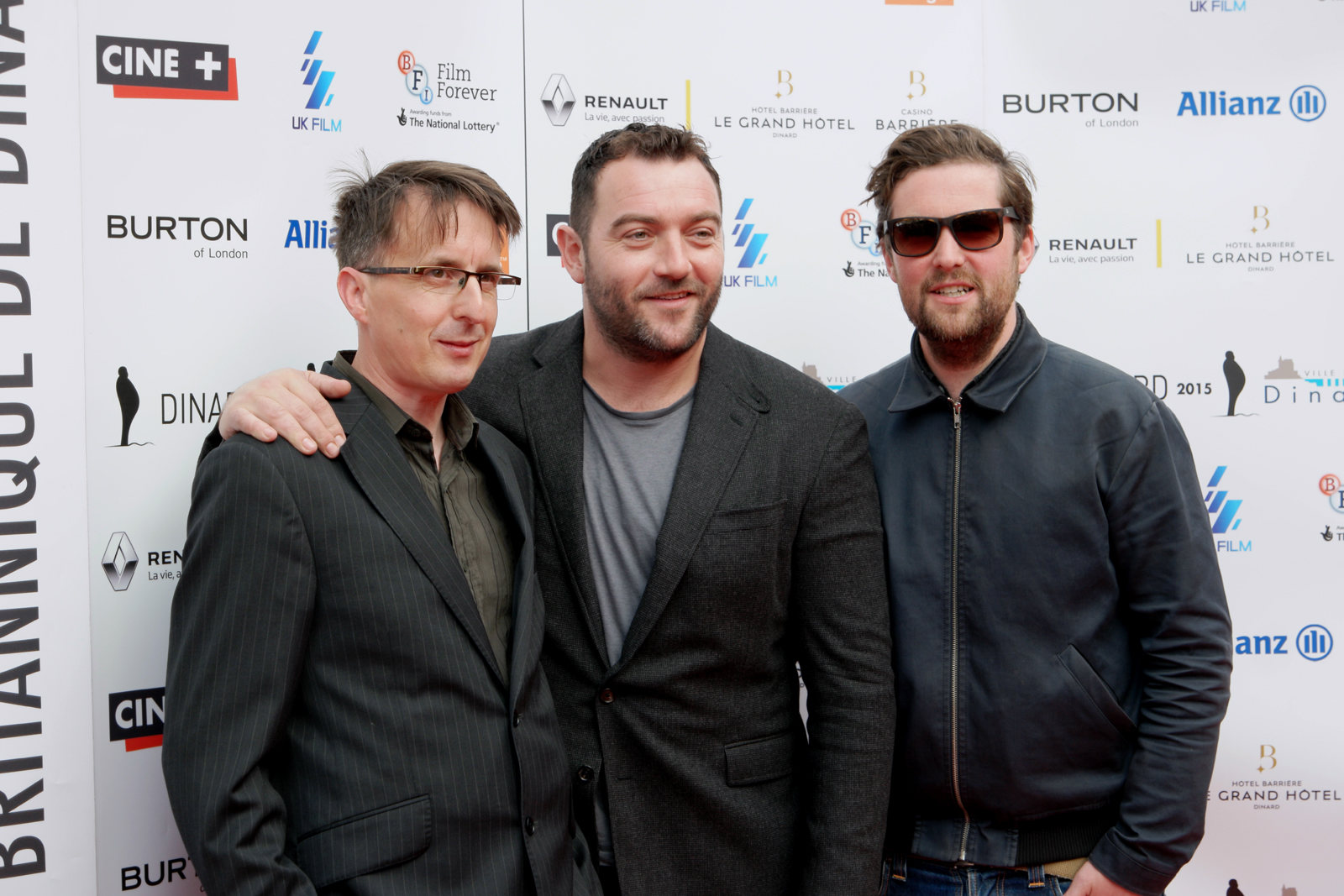 Denis Menochet avec Martin Radich (réalisateur) et Finlay Pretsell (producteur)