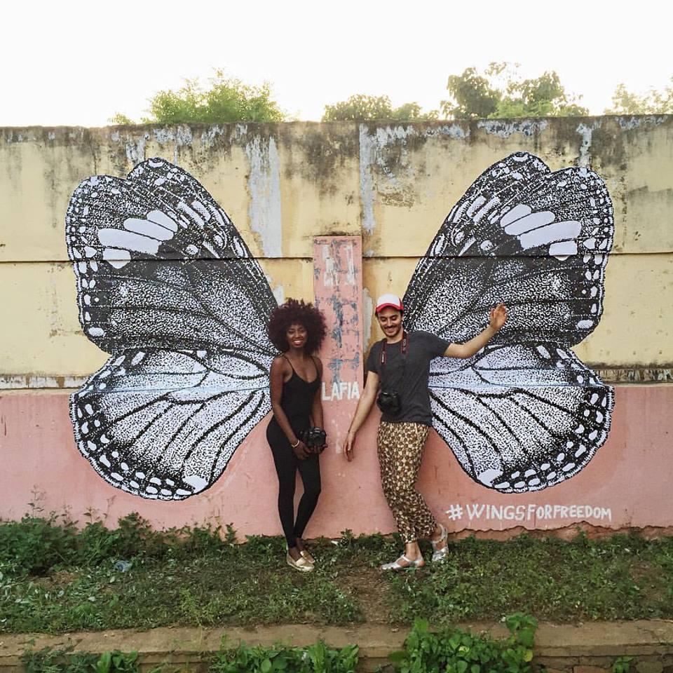 Inna Modja Marco Conti Siki The journey of wingsforfreedom in Bamako wingsforbamako photo Facebook