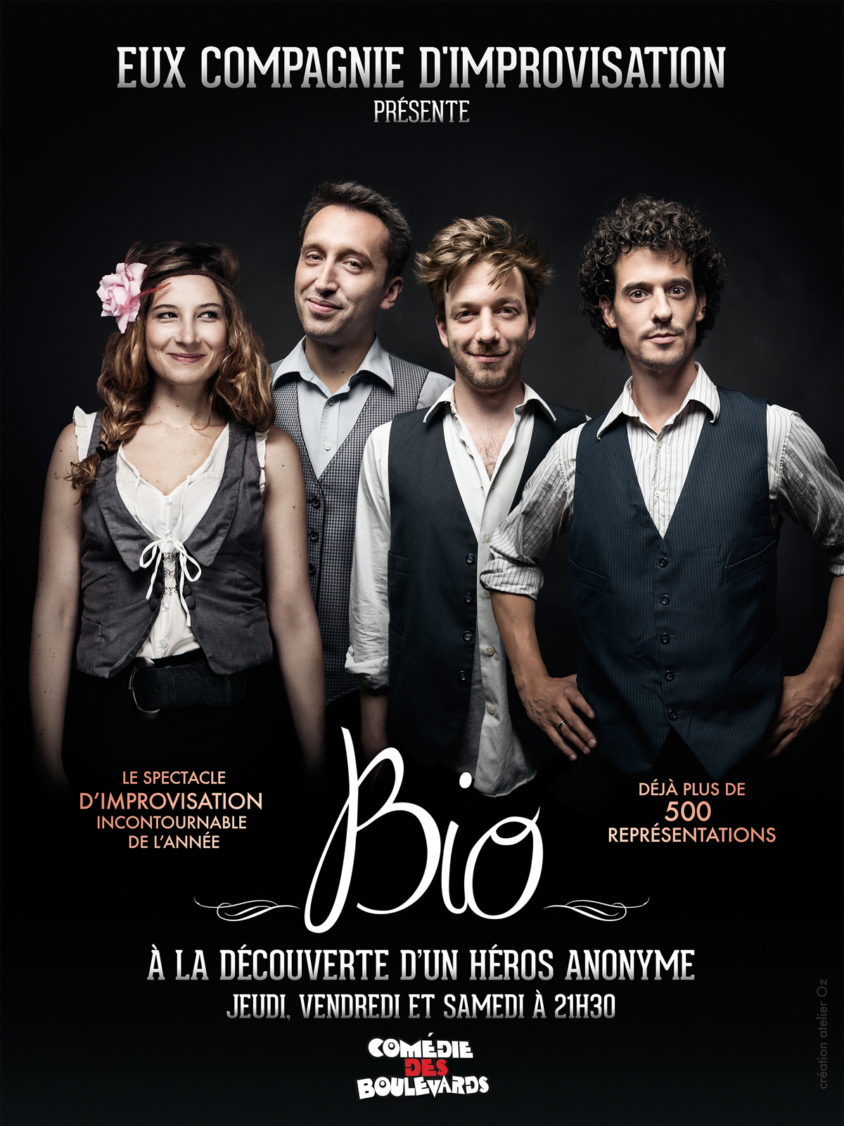 Bio spectacle de la compagnie d improvisation EUX affiche Comédie des Boulevards Paris avec Jeanne Loïc Nabla Timothée humour