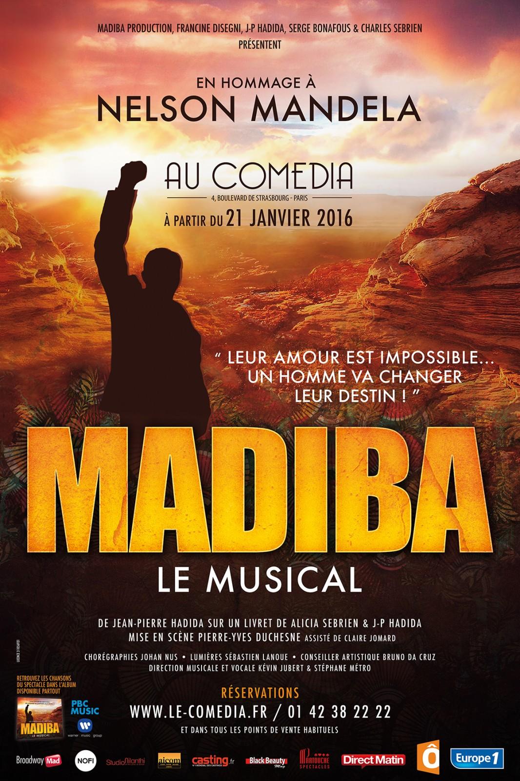Affiche Madiba le musical en hommage à Nelson Mandela au Comédia Paris de jean-pierre Hadida Alicia Sebrien mise en scène Pierre-Yves Duchesne