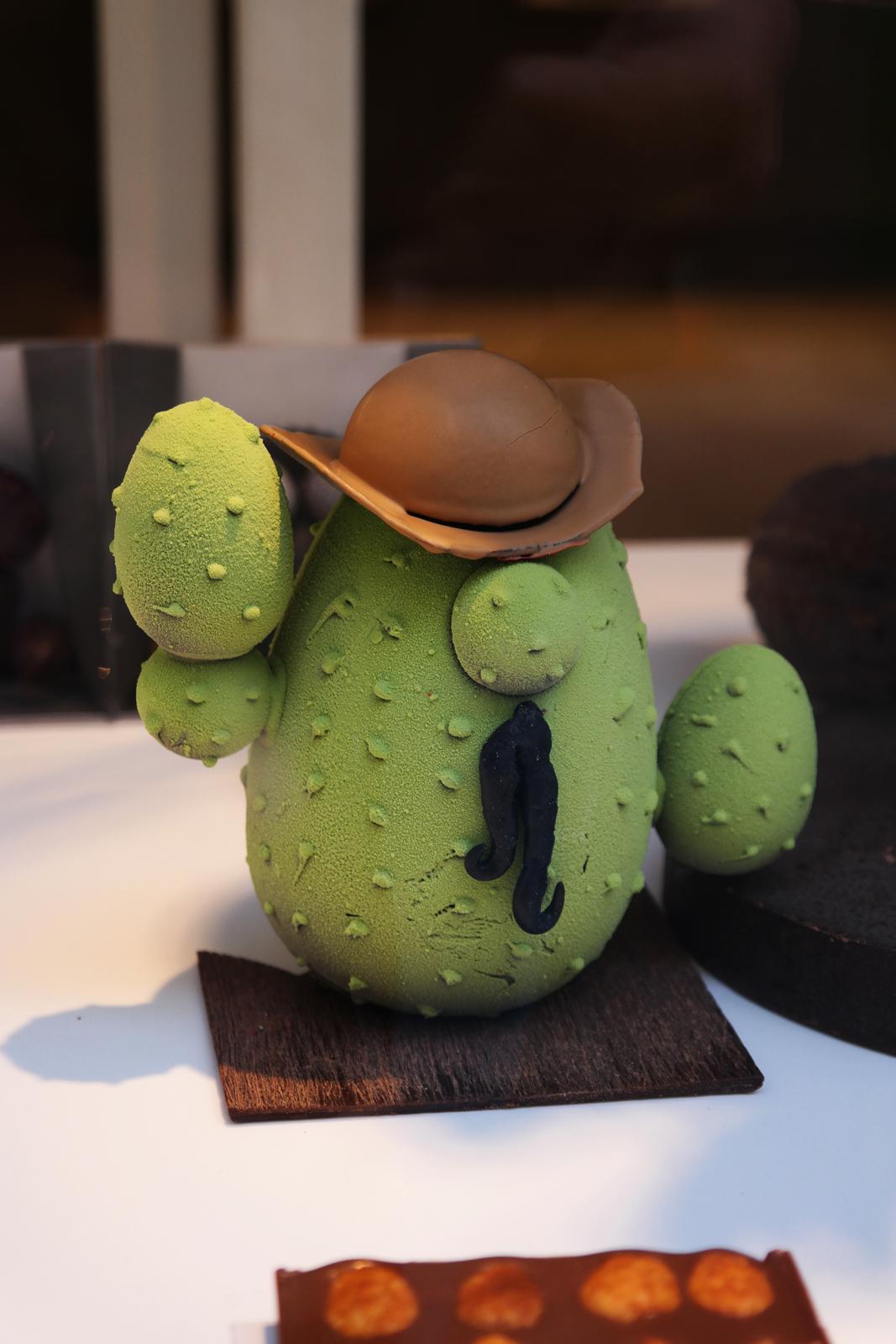 Oeuf de Pâques Cactus de Matthieu Bijou chocolaterie patisserie paris Le Raincy thème voyage du chocolat Mexique praliné citron vert maïs grillé création originale photo usofparis blog