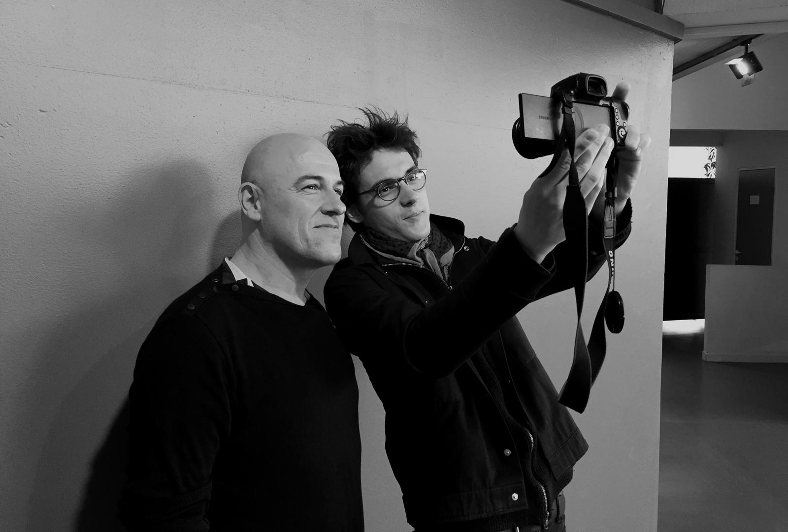 Dominique A et Pierre Guénard radio elvis séance photo selfie pour usofparis blog Printemps de Bourges 2016 40 ans festival musique