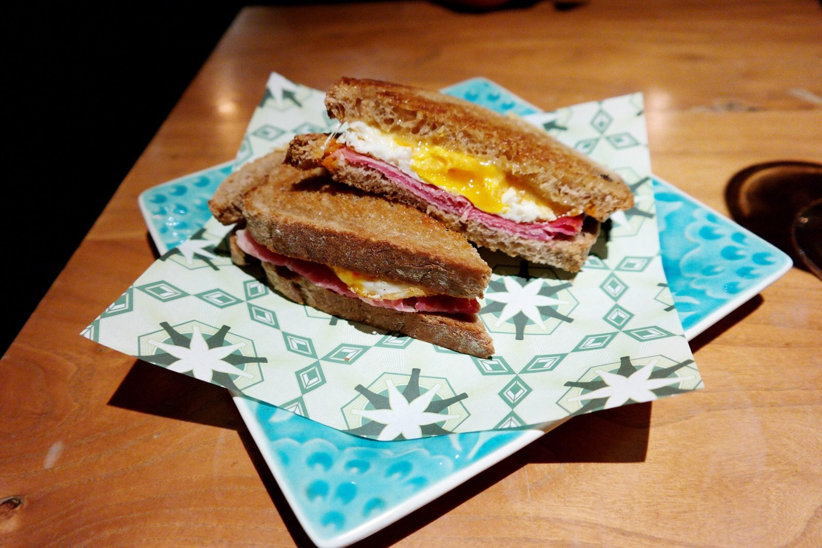 Ham egg sandwich Beergrdn restaurant bar design URBN Hotel Shanghai boutique hotel food photo by usofparis travel blog