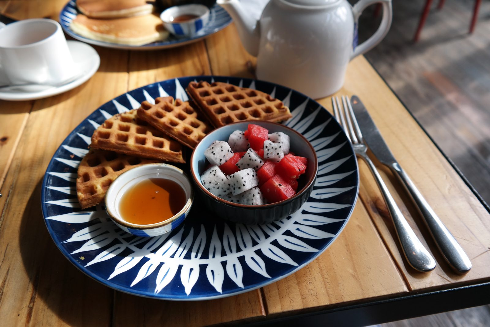 Waffles breakfast Beergrdn restaurant bar design URBN Hotel Shanghai boutique hotel photo usofparis travel blog