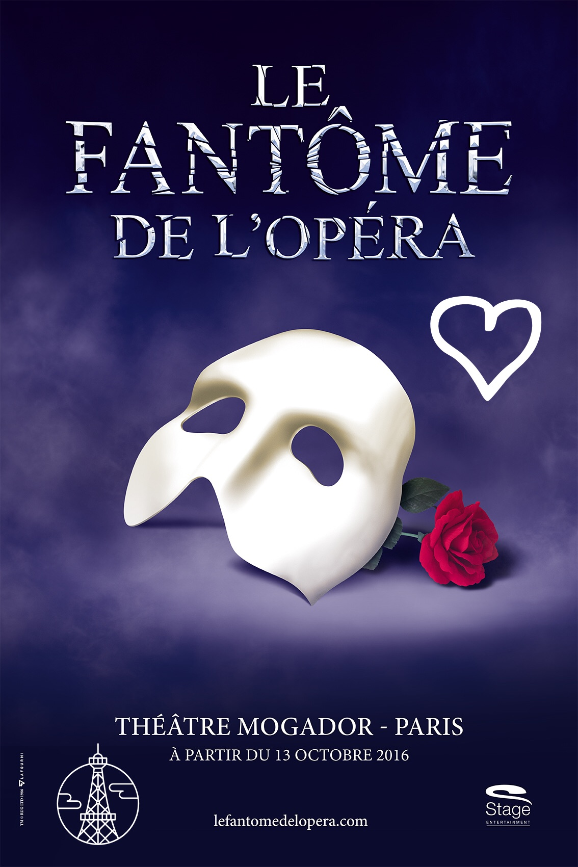 Le Fantome de l opéra affiche comédie musicale culte à partir du 13 octobre 2016 Théâtre Modagor Paris The phantom of the opera musical blog usofparis