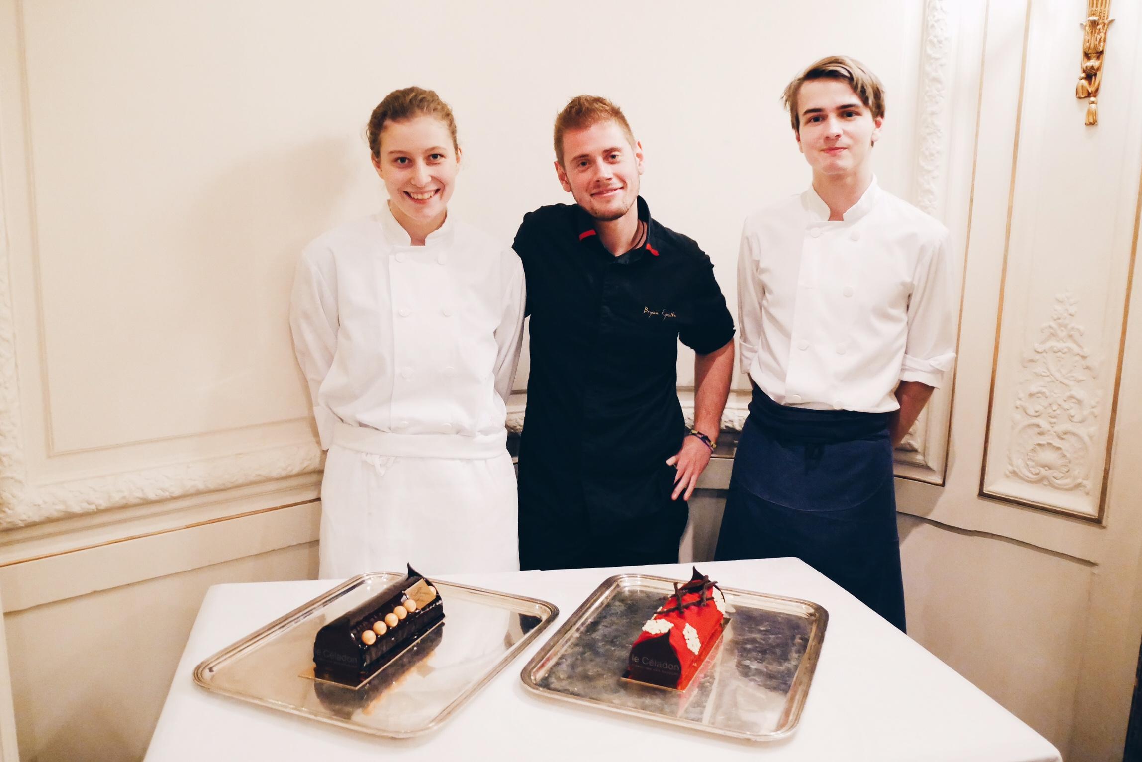 Bryan Esposito, chef patissier du restaurant Le Céladon, et son équipe