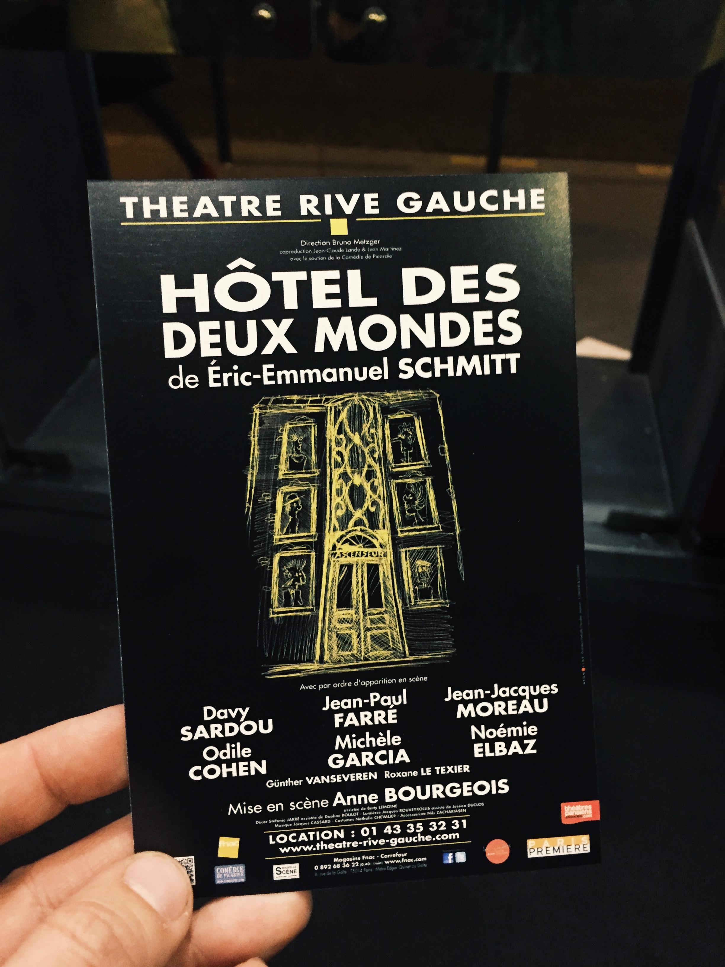 Affiche-Hôtel-des-deux-mondes-Théâtre-Rive-Gauche-Paris-Eric-Emmanuel-Schmitt-mise-en-scène-Anne-Bourgeois-critique-usofparis-blog