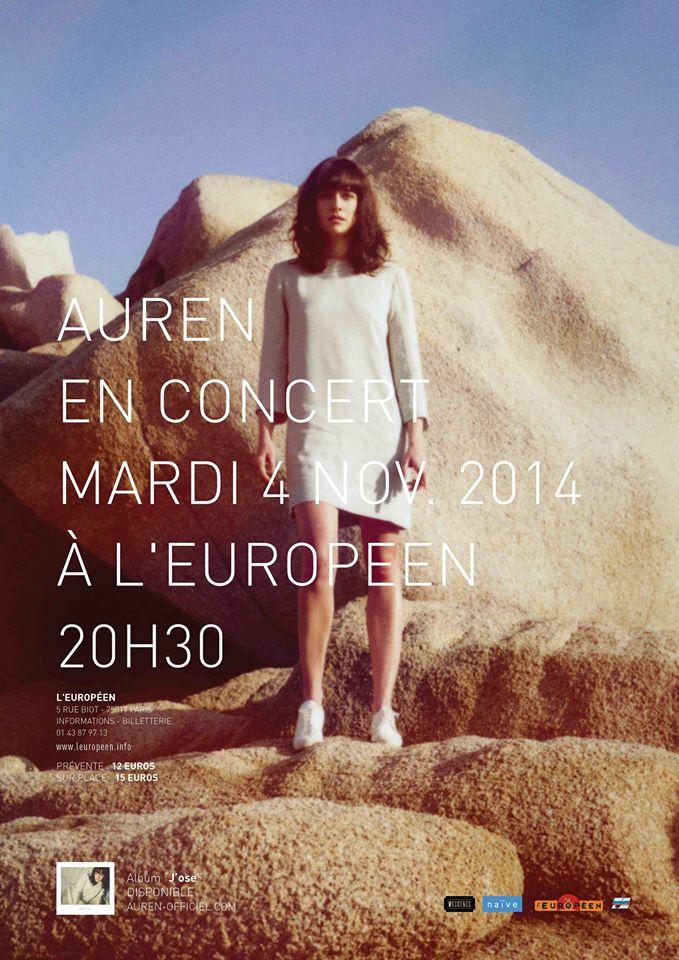 Affiche du concert de la chanteuse Auren à l'Européen Paris le mardi 4 novembre 2014 musique