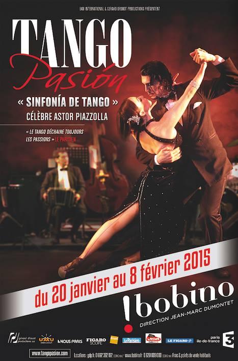 Affiche spectacle Sinfonia de Tango Pasion Astor Piazzolla au Théâtre de Bobino Paris janvier et février 2015