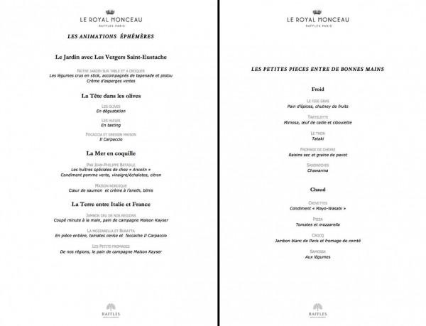 Hôpital Necker chefs étoilés Royal Monceau jeudi 2 avril 2015 diner caritatif évènement menu