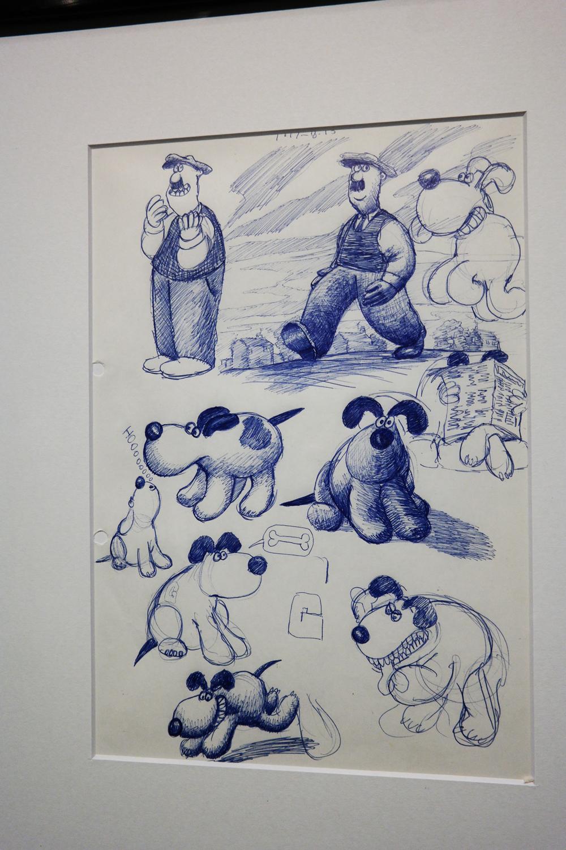 Premiers dessins de recherche early drawings Nick Park Wallace and et Gromit A Grand Day Out 1989 exposition Aardman Studios Musée Art Lusique Paris animation movie film