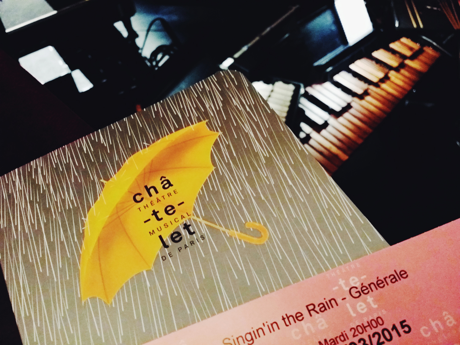 Programme spectacle Singin in the rain nouvelle production Théâtre du Chatelet paris musical show poster Robert Carsen photo by United States of Paris blog
