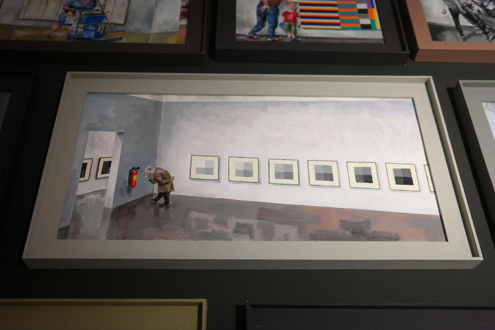 Gouache de la série Faire Surface (2008-2009) par Yves Noyau, collection Cartoonmuseum Basel