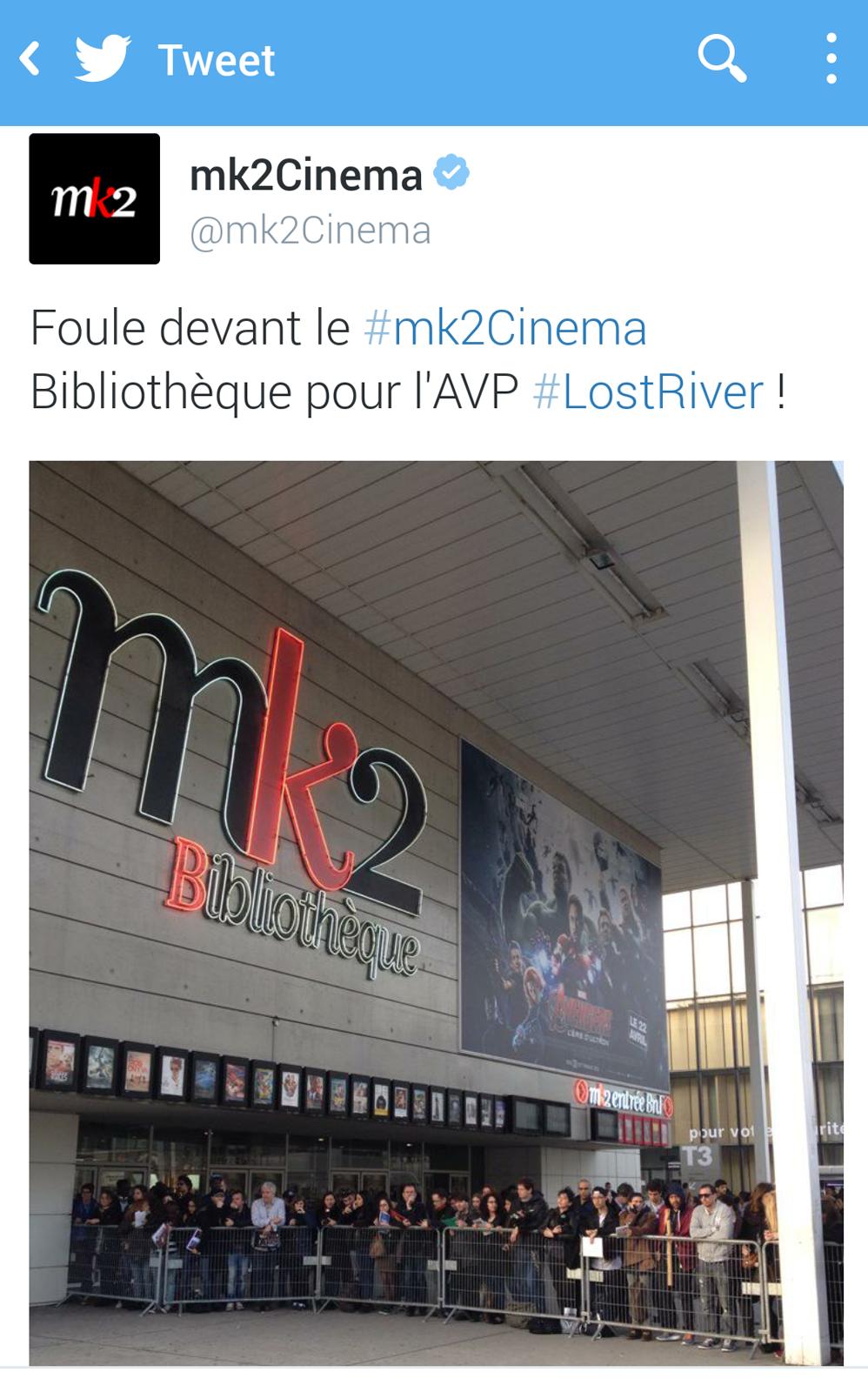 Lost River Ryan Gosling film movie avant première Mk2 bibliothèque photo twitter Mk2 cinéma