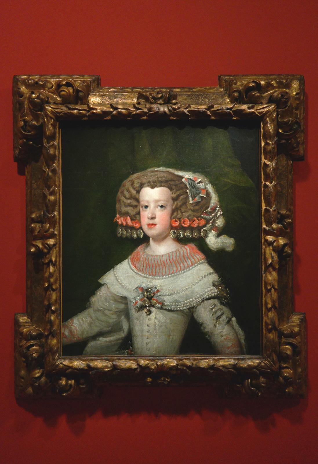 Portrait de l'infante Marie-Thérèse, vers 1653, Atelier de Diego Velazquez, Paris, Musée du Louvre