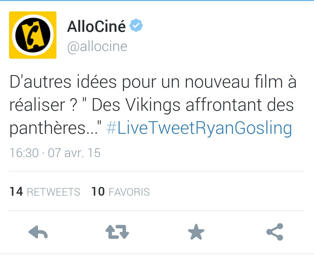 Ryan Gosling live tweet allociné Lost River promo film Paris twitter une idée pour un nouveau film