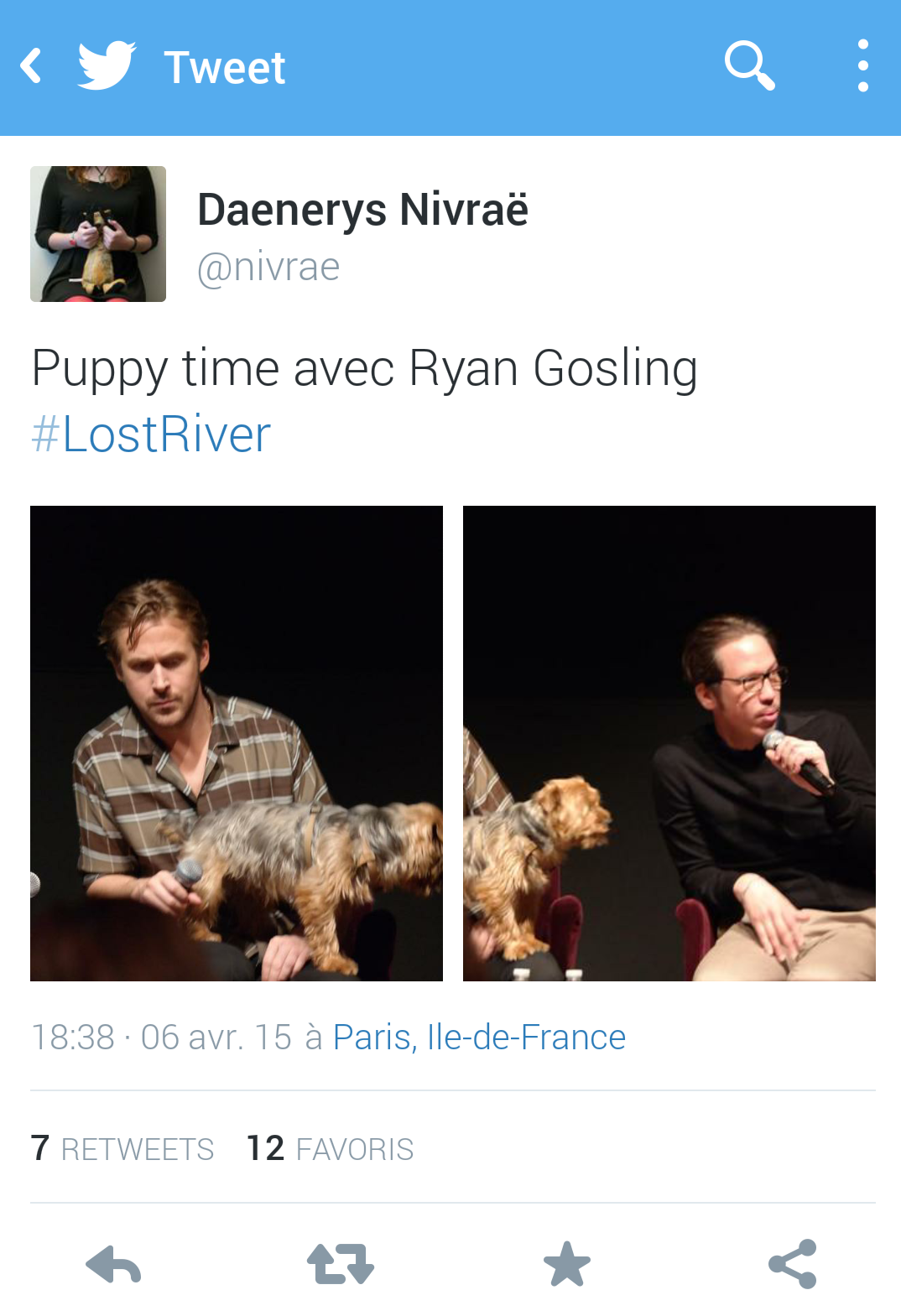 Ryan Gosling with dog master class Lost River avec Reda Kateb photo twitter by Daenerys Nivraë