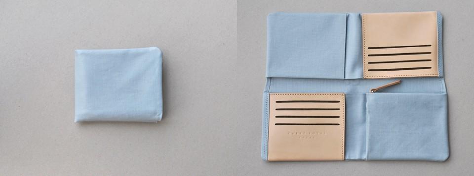 Carré Royal Paris Grand portefeuille pliable en toile coton et cuir de tannage végétal  ligne Jansiaux maroquinerie parisienne boutique en ligne