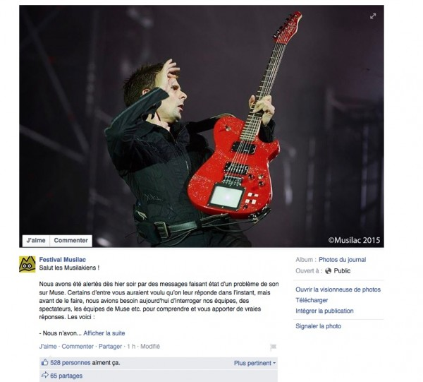 Facebook musilac muse drones tour excuse bonus day festival live concert