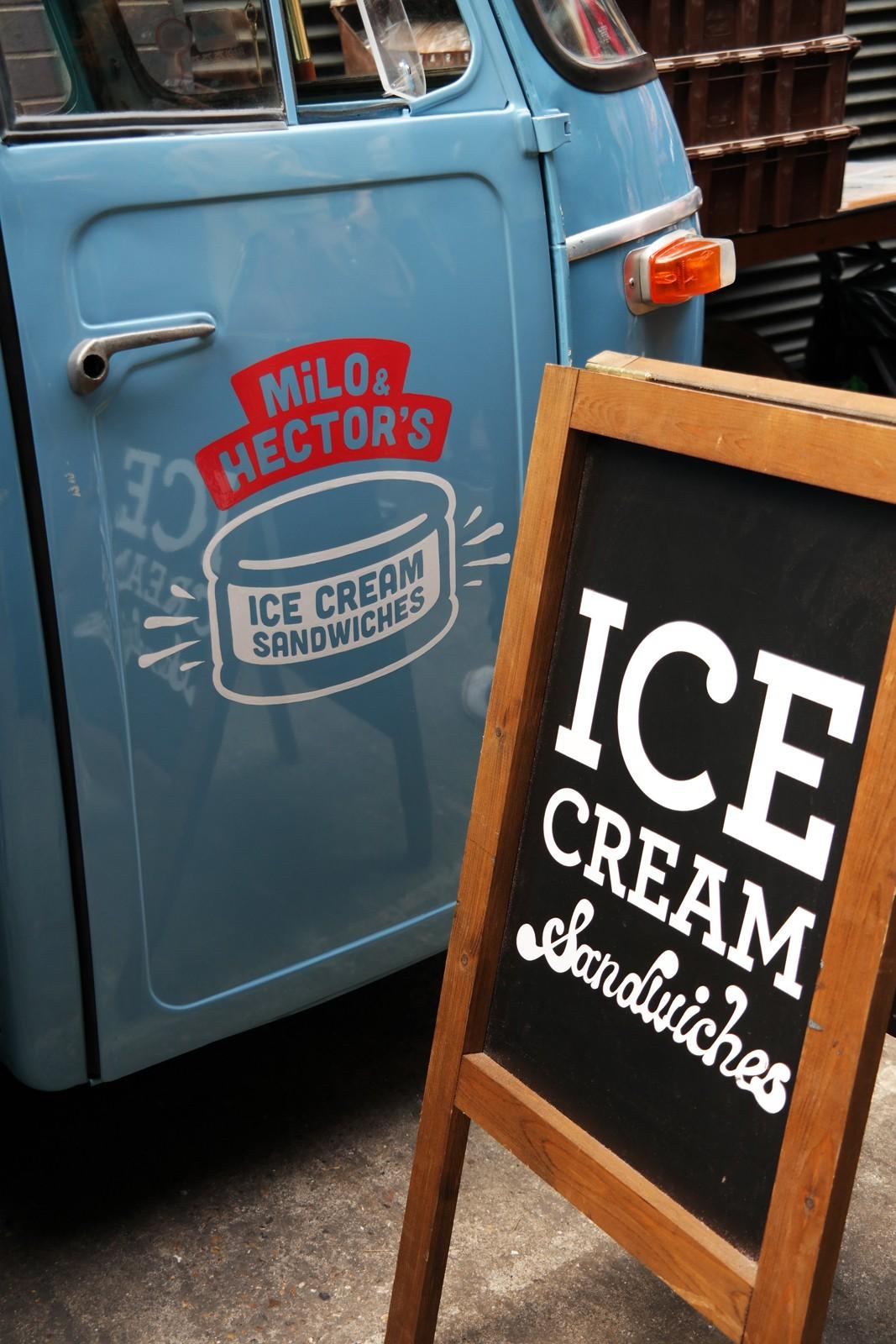Milo and Hector's Ice Cream sandwich truck Maltby Street Market Ropewalk London Bermondsey street food marché gourmand Londres photo by usofparis