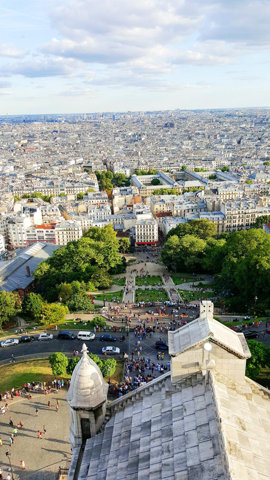 Vue panoramique depuis le dôme de la Basilique du Sacré-Coeur Panoramic view of Basilica Montmatre tour rooftop paris photo by united states of paris blog