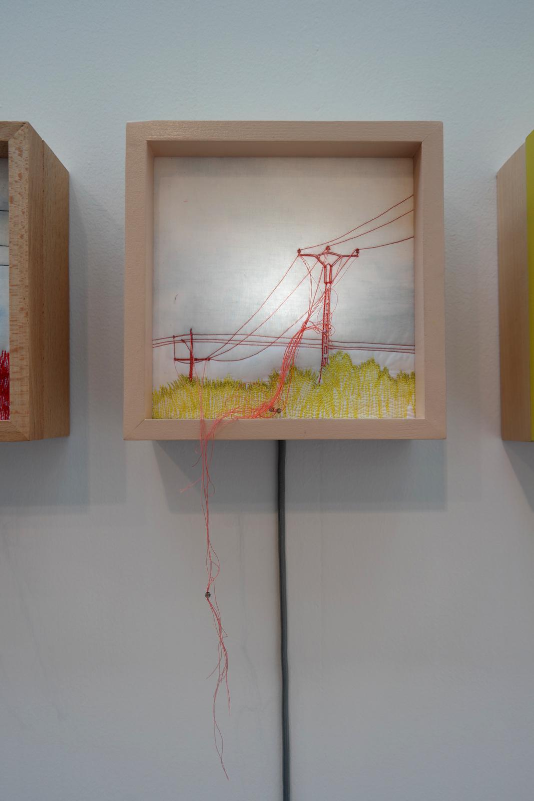 Boites lumineuses série pylônes électriques by Anne Fontaimpe designer textile stand Lorraine salon Révélations 2015 grand Palais Paris métiers art et création