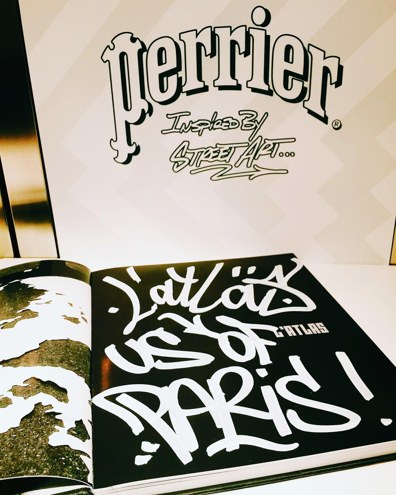 Dédicace L Atlas street artiste pour le blog united states of paris soirée de lancement Perrier inspired by street art Colette water bar photo usofparis