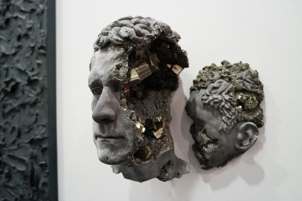 Pyrite Cracked Face 2015 by Daniel Arsham Pyrite hydrostone unique Galerie Emmanuel Perrotin FIAC 2015 international contemporary art fair Grand Palais PARIS