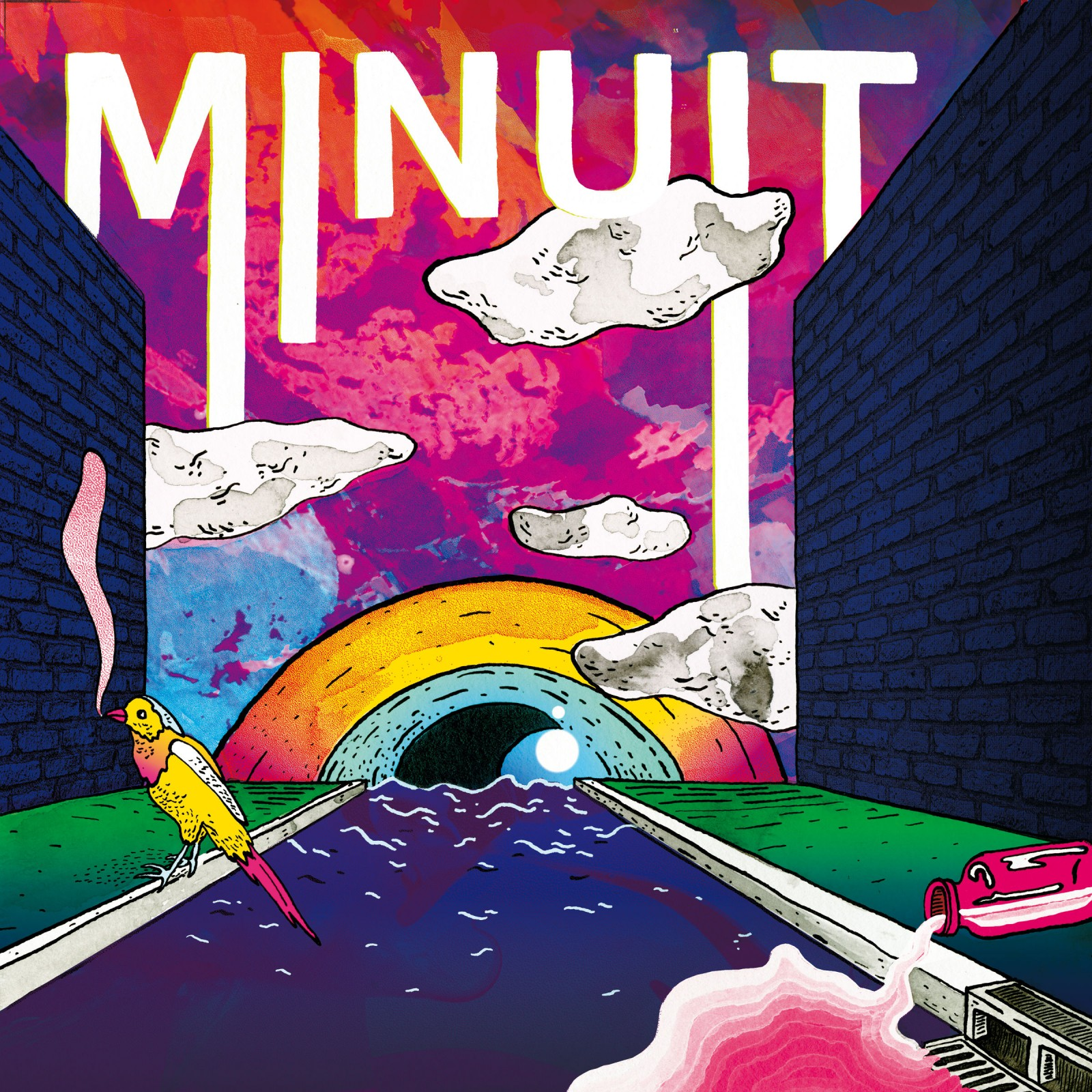 EP groupe Minuit avec morceaux Flash Recule Caféine Roule Sur les Berges Simone-Ringer-Joseph-Delmas-Klem-Aubert-Raoul-Chichin-Tanguy-Truhé Because Music CD et vinyle