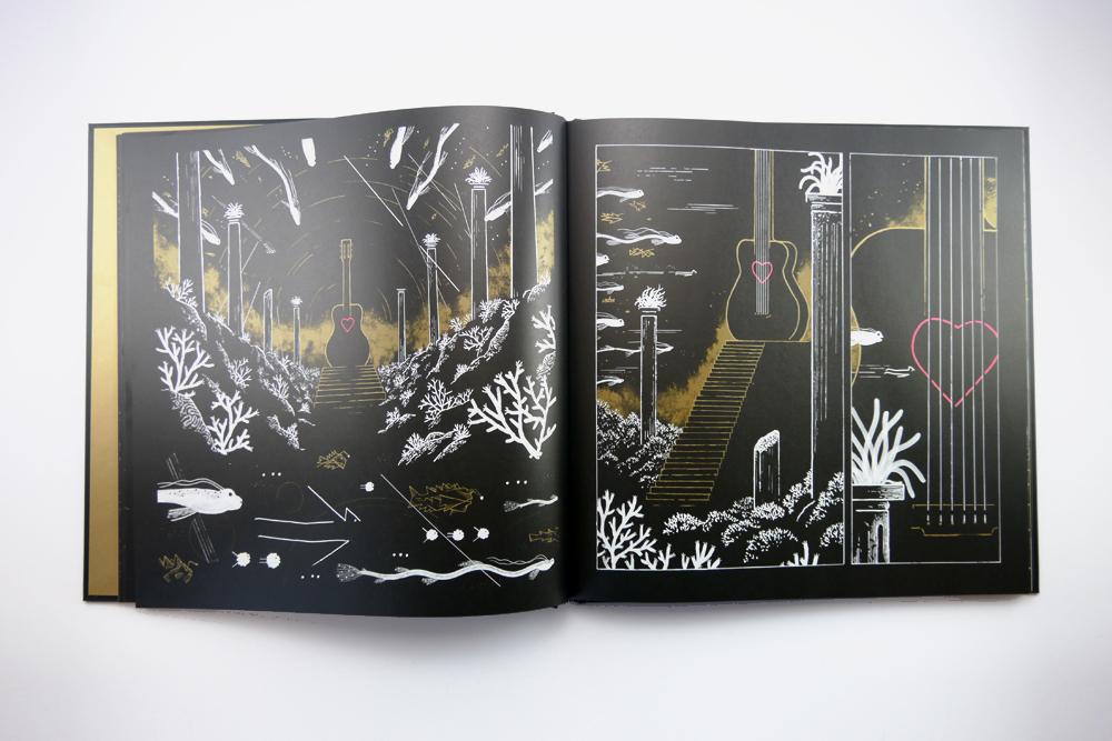 Guitare coeur rose pages illustrées par Matthias Picard dessinateur de La BO 2 M de Matthieu Chedid livre album expérience aux éditions 2024
