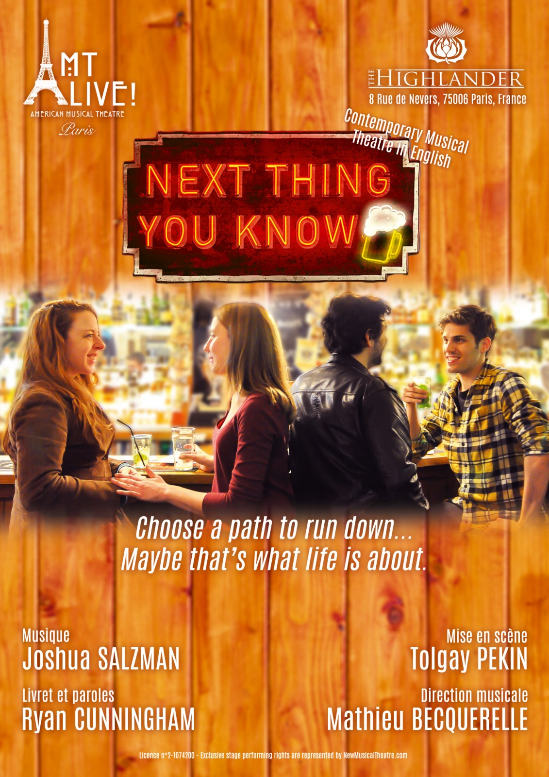 affiche-next-thing-you-know-poster-musical-off-broadway-joshua-salzman-ryan-cunningham-pub-highlander-bar-mise-en-scene-tolgay-pekin-copywright-amt-live-paris-nico-jan
